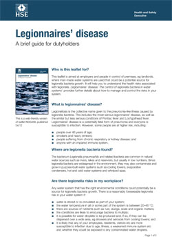 Legionnaires' disease - A brief guide for dutyholders