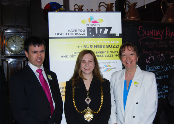 Jan and David with the mayor of Hertford, councillor Miss Jane Sartin.
